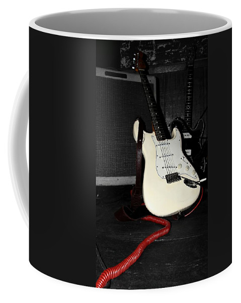 Fender Coffee Mug featuring the photograph Fender Guitar And Amp In Selective Color by Chris Berry