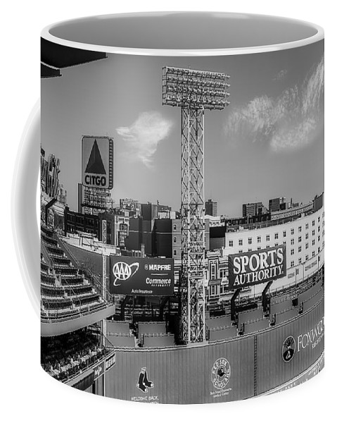 Boston Coffee Mug featuring the photograph Fenway Park Green Monster Wall Bw by Susan Candelario