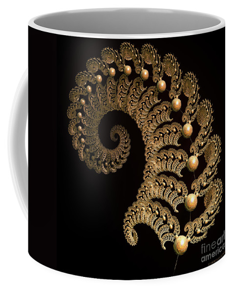 Incendia Coffee Mug featuring the digital art Fern-spiral-fern by Deborah Benoit