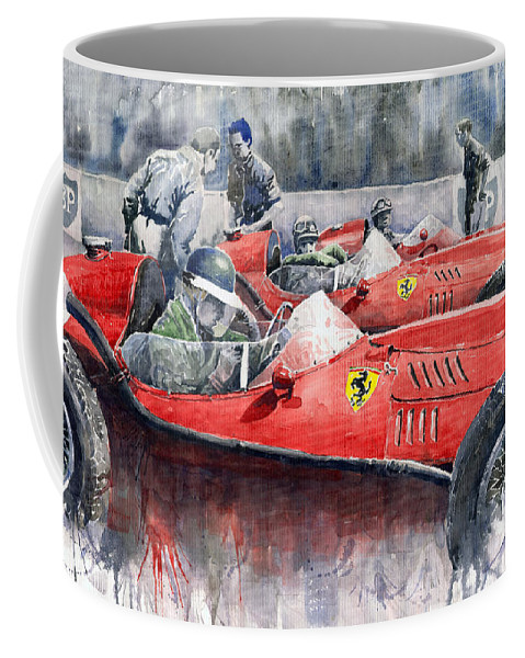 Car Coffee Mug featuring the painting Ferrari Dino 246 F1 1958 Mike Hawthorn French Gp by Yuriy Shevchuk