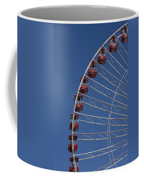 Chicago Navy Pier Windy City Ferris Wheel Attraction Blue Sky Red Tourist Tourism Travel Coffee Mug featuring the photograph Ferris Wheel II by Andrei Shliakhau