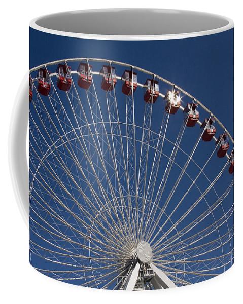 Chicago Ferris Wheel Navy Pier Windy City Attraction Tourist Tourism Travel Blue Sky Coffee Mug featuring the photograph Ferris Wheel IIi by Andrei Shliakhau