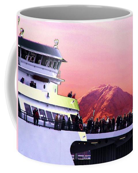 Seattle Coffee Mug featuring the digital art Ferry And Da Mountain by Tim Allen