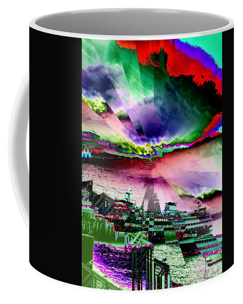 Seattle Coffee Mug featuring the digital art Ferry Illusion by Tim Allen