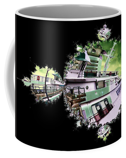 Seattle Coffee Mug featuring the digital art Ferry In Fractal by Tim Allen