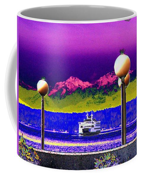 Seattle Coffee Mug featuring the digital art Ferry On Elliott Bay by Tim Allen