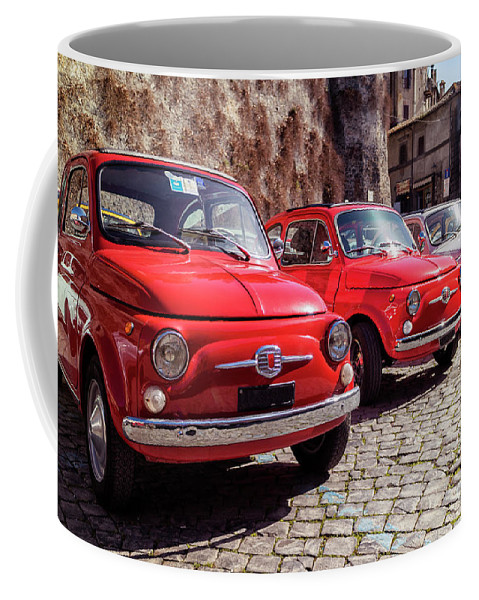 Italy Coffee Mug featuring the photograph Fiat 500's In Bracciano Italy by David Daniel