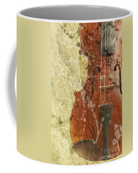 Concepts Coffee Mug featuring the digital art Fiddle In Grunge Style by Michal Boubin