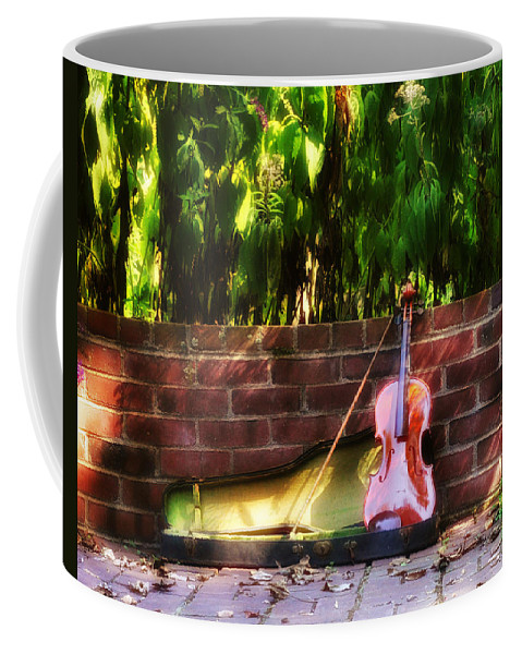 Violin Coffee Mug featuring the photograph Fiddle On The Garden Wall by Bill Cannon