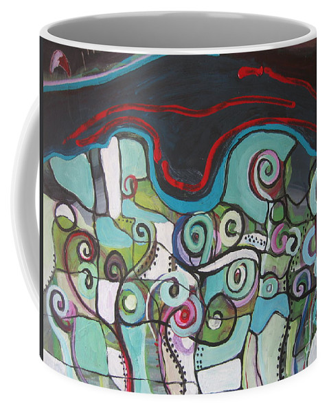 Fiddleheads Paintings Coffee Mug featuring the painting Fiddleheads 5 by Seon-Jeong Kim