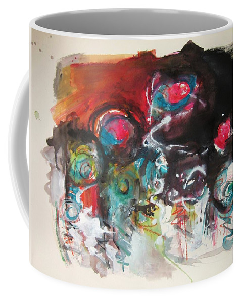 Fiddleheads Paintings Coffee Mug featuring the painting Fiddleheads- Landscape Painting For Sale Red Blue Green by Seon-Jeong Kim