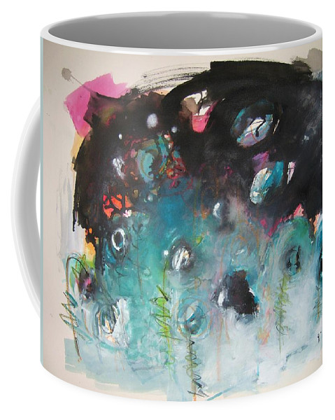 Fiddleheads Paintings Coffee Mug featuring the painting Fiddleheads- Original Abstract Colorful Landscape Painting For Sale Red Blue Green by Seon-Jeong Kim