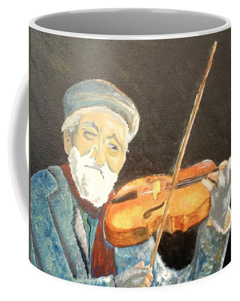 Hungry He Plays For His Supper Coffee Mug featuring the painting Fiddler Blue by J Bauer