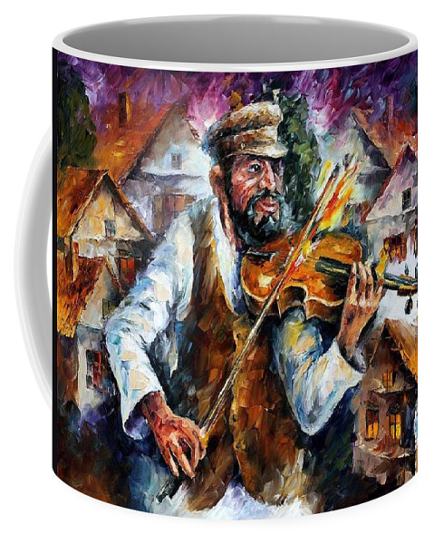 Judiac Coffee Mug featuring the painting Fiddler From The Sky by Leonid Afremov