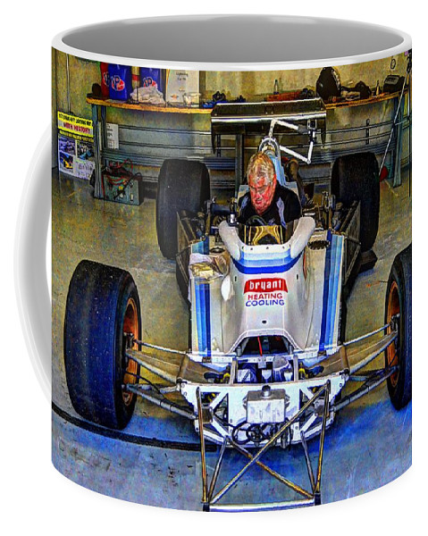 Josh Williams Photography Coffee Mug featuring the photograph Fiddling About Indy Garages by Josh Williams