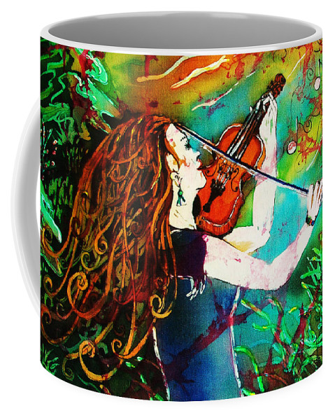 Music Coffee Mug featuring the painting Fiddling Toward The Sun by Sue Duda