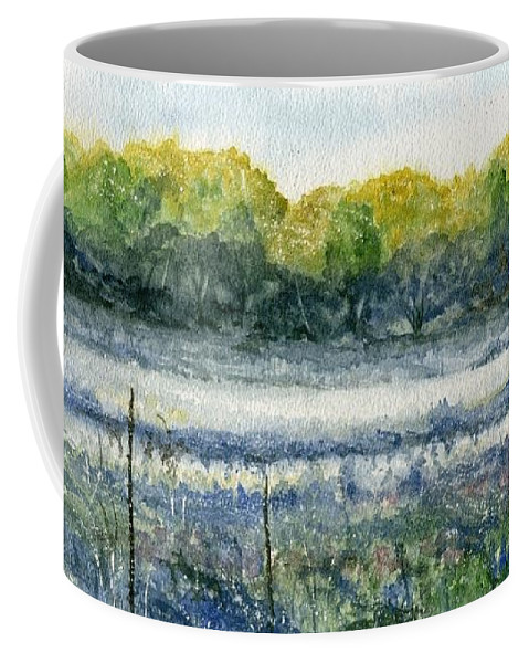 Minnesota Coffee Mug featuring the painting Field Of Frost by Mary Tuomi