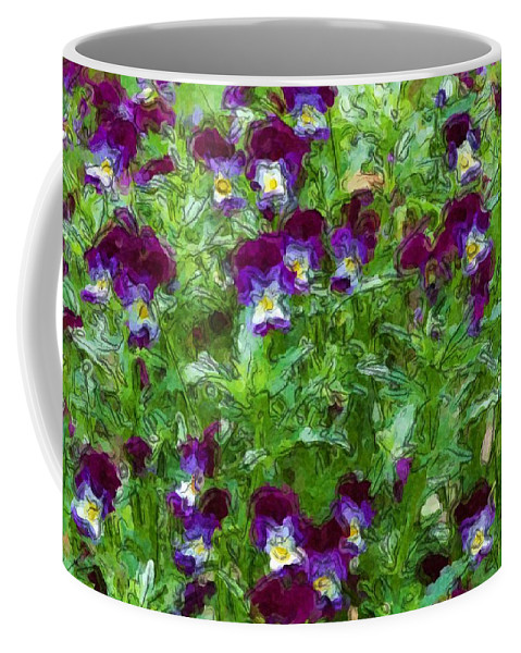 Digital Photograph Coffee Mug featuring the photograph Field Of Pansy's by David Lane