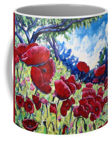 Poppies Coffee Mug featuring the painting Field Of Poppies 02 by Richard T Pranke