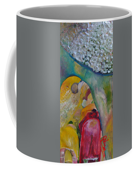 Cotton Coffee Mug featuring the painting Fields Of Cotton by Peggy Blood