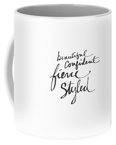 Fashionista Coffee Mug featuring the painting Fierce And Styled Black- Art By Linda Woods by Linda Woods