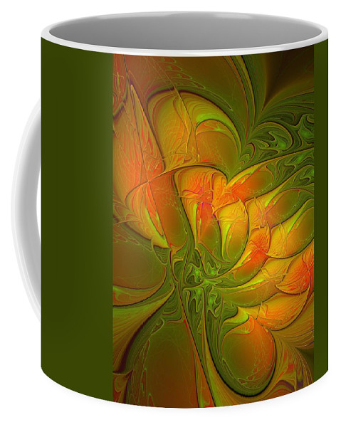 Digital Art Coffee Mug featuring the digital art Fiery Glow by Amanda Moore
