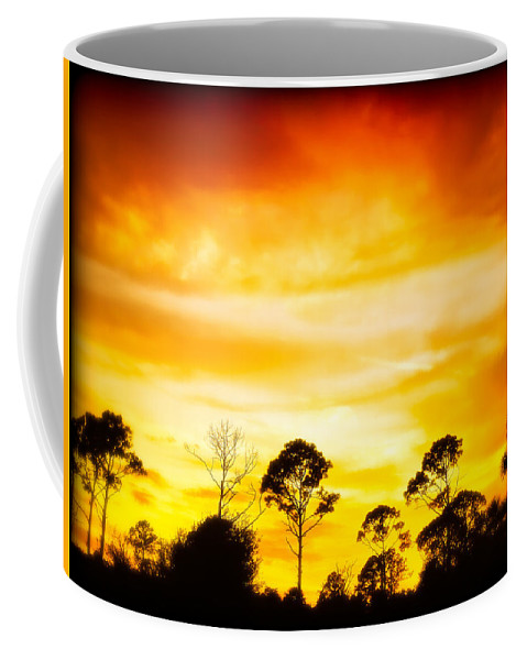 Sky Coffee Mug featuring the photograph Fiery Sunset by Rich Leighton