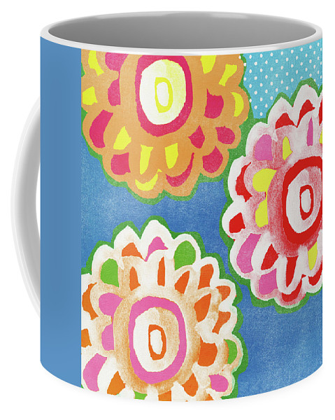 Flowers Coffee Mug featuring the mixed media Fiesta Floral 3- Art by Linda Woods by Linda Woods