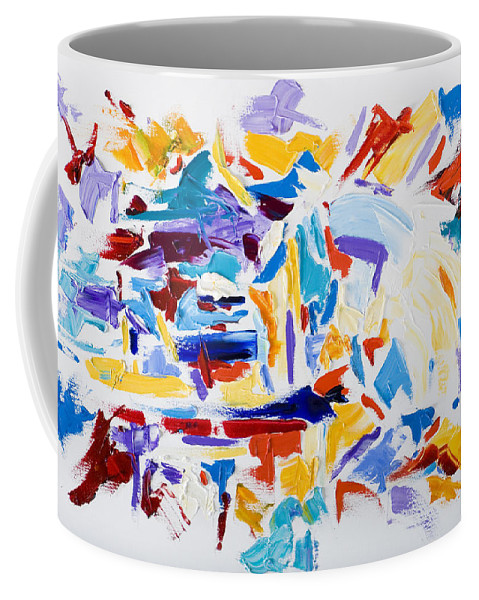 Abstract Yellow Coffee Mug featuring the painting Fiesta by Shannon Grissom