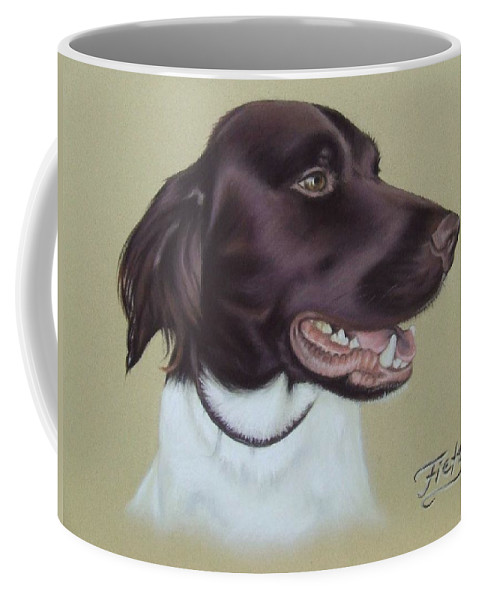 Dog Coffee Mug featuring the pastel Fiete by Nicole Zeug