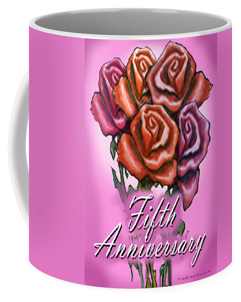 Fifth Coffee Mug featuring the greeting card Fifth Anniversary by Kevin Middleton