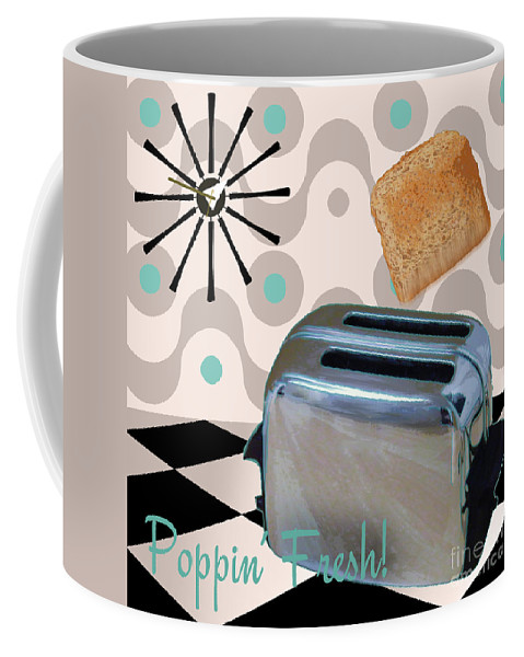 Fifties Toaster Coffee Mug featuring the painting Fifties Kitchen Toaster by Mindy Sommers