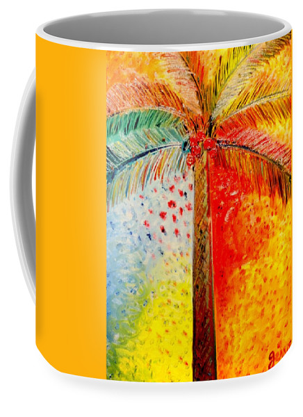 Palm Tree Art Coffee Mug featuring the painting Fig Palm Sunset by Helen Gerro