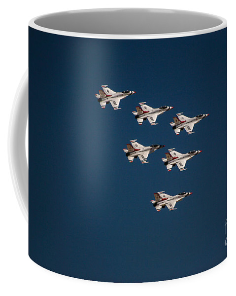 Air Force Coffee Mug featuring the photograph Fighter Aerobatics by Chandra Nyleen