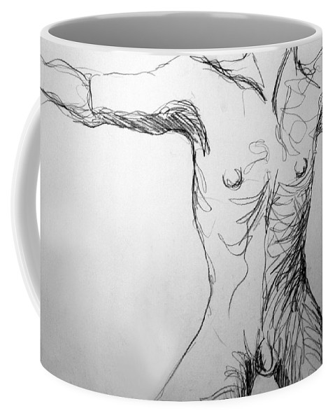 Figure Coffee Mug featuring the drawing Figure Drawing 5 by Nancy Mueller