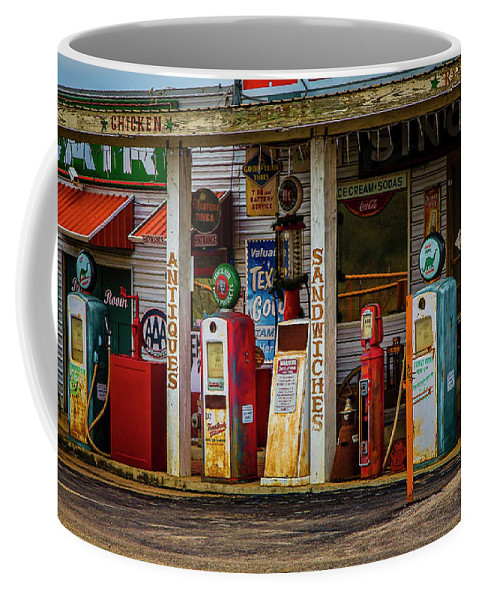 Texas Coffee Mug featuring the photograph Filling Station by Jon Burch Photography