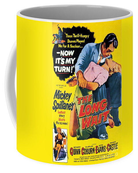 Film Noir Coffee Mug featuring the painting Film Noir Poster The Long Wait by R Muirhead Art