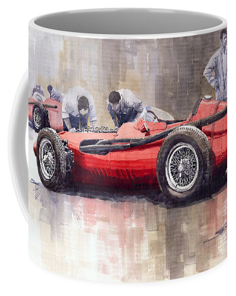Watercolour Coffee Mug featuring the painting Final Check Before The Start Maserati 250 F 1957 by Yuriy Shevchuk