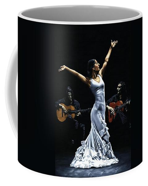 Flamenco Coffee Mug featuring the painting Finale Del Funcionamiento Del Flamenco by Richard Young
