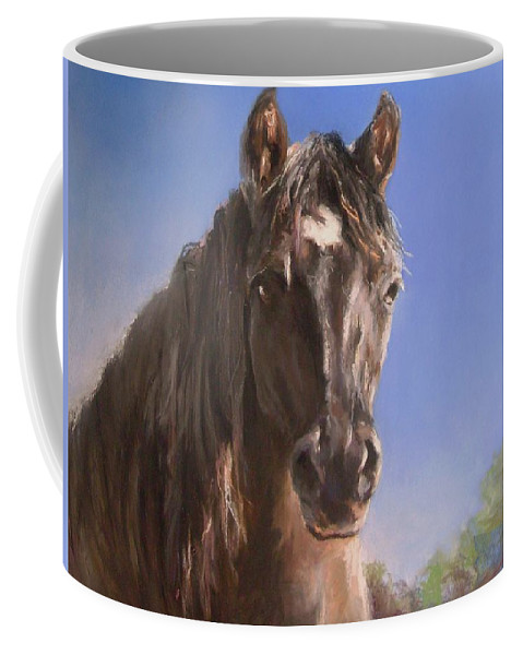 Horse Coffee Mug featuring the pastel Finally Stella by Debbie Anderson