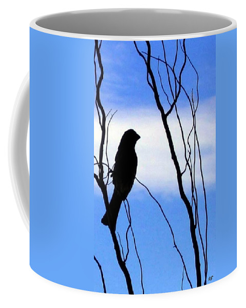 Finch Coffee Mug featuring the photograph Finch Silhouette 1 by Will Borden