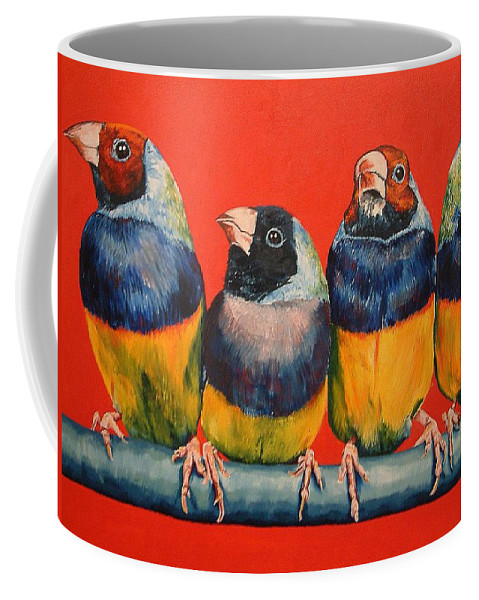 Birds Coffee Mug featuring the painting Finches by Debbie Sampson