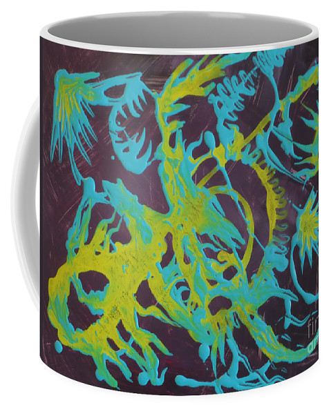 Abstract Coffee Mug featuring the painting Find A Cure by Monika Shepherdson