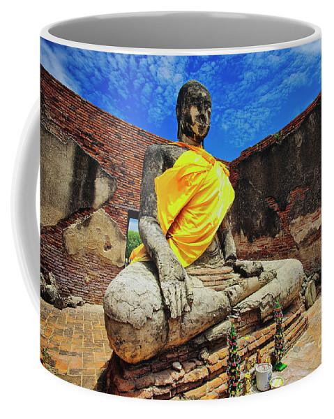 Ayutthaya Coffee Mug featuring the photograph Finding, Not Seeking At Wat Worachetha Ram In Ayutthaya, Thailand by Sam Antonio Photography