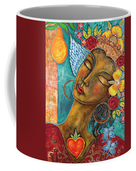 Bird Coffee Mug featuring the painting Finding Paradise by Shiloh Sophia McCloud