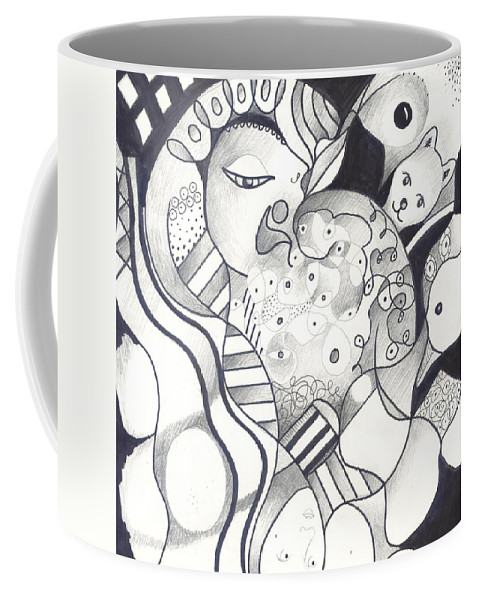 Figurative Abstraction Coffee Mug featuring the drawing Finding The Goose That Laid The Egg by Helena Tiainen