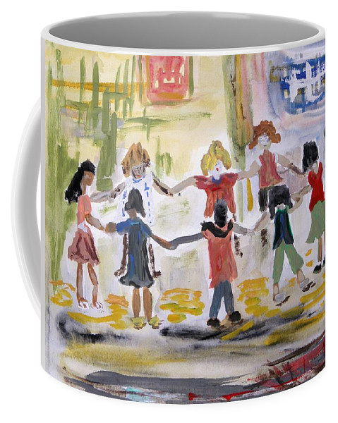 Kids Coffee Mug featuring the painting Finding Time To Play by Mary Carol Williams