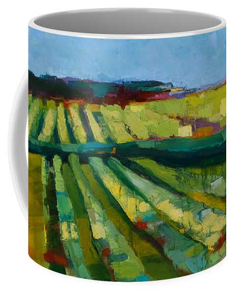 Landscape Coffee Mug featuring the painting Fine Fields by Michele Norris