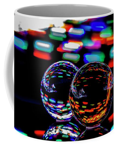 Finger Lights Coffee Mug featuring the photograph Finger Light Painted Glass Ball Abstract by Sven Brogren