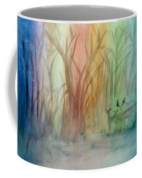 Rainbow Coffee Mug featuring the painting Finian's Rainbow by Donna Blackhall
